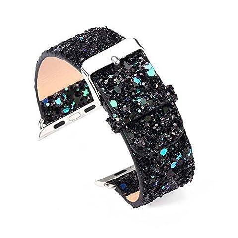 For Apple Extreme de montre bracelet en cuir de luxe 3D Bling Glitter Apple Montre bracelet bande de rechange pour iwatch Apple Montre, BLACK