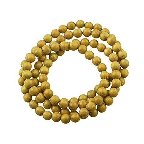 CarpenterC Lot de 200/500 magnifiques perles naturelles rondes polies en bois de palissandre pour fabrication de bijoux, bricolage et loisirs créatifs, Golden wood(500pcs), 6 mm
