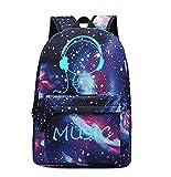 ZJWZ Leuchtender Schulrucksack Cool Leuchtende Tasche Unisex Galaxy Laptoptasche Mit Bleistift Tasche Junge Mädchen Teenager,Medium