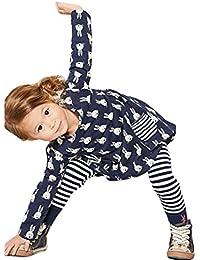 SMARTLADY - Moda Bebé Niñas Otoño Conejito Camisa vestido Manga larga + Leggings Pantalones a rayas