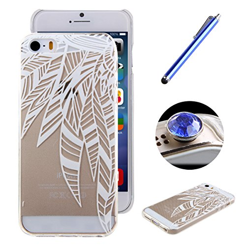 Etsue TPU Silikon Hülle für iPhone SE/iPhone 5S Aztec Tribal Henna Floral Mandala Blume Muster, Bunte Malerei niedlich Karikatur Retro Painted Transparent Handyhülle Soft Back Cover Ultra Slim Weiche  Weiß Blumen muster #14