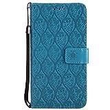 DENDICO Coque Huawei P10 Lite, Gaufrage PU en Cuir Coque, Flip Portefeuille Cuir Étui Housse TPU Coque de Protection pour Huawei P10 Lite - Bleu