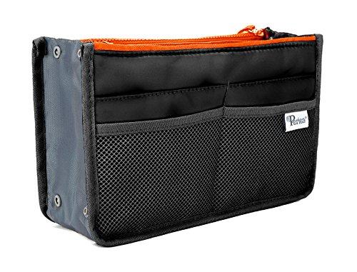 Organisateur de sac à main Periea - Chelsy - Noir avec zip au néon - 3 couleurs et tailles disponibles - Édition limitée (Noir avec Zip Néon Orange, G...