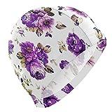 Gebrb Gorro de Baño/Gorro de Natacion, Purple Floral Flower Plaid Lycra Swim Cap Swimming for Women Men