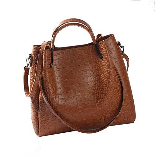 Yy.f Nuove Borse Moda Impresso Coccodrillo Modello Messenger Bag Tracolla Portatile Borsa Grande Signore Borse Marea Pratico Interno 2 Colori Grey