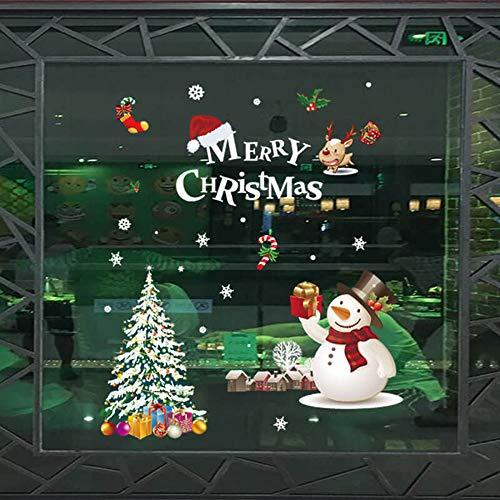 Perpurs Weihnachts-Wand-Fenster-Aufkleber, entfernbar, DIY Wand, Fenster, Tür-Tapete, Aufkleber für Weihnachten, Urlaub, Dekoration, Wohnzimmer, Schlafzimmer, Fenster, Wand Christmas Tree (Weihnachts-schlafzimmer Dekorationen)