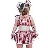 LEXUPE Kleinkind Baby Kind Mädchen Strap Plaid Print Tops Quaste Rock Sommer Outfits Set(Rot,100)