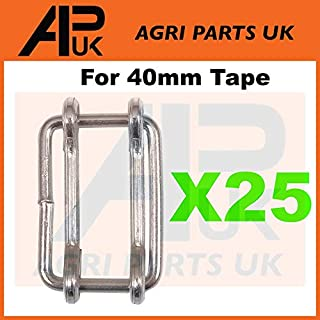 APUK 25 x Electric fence fencing 40mm Poly tape connector Joiners Metal connection