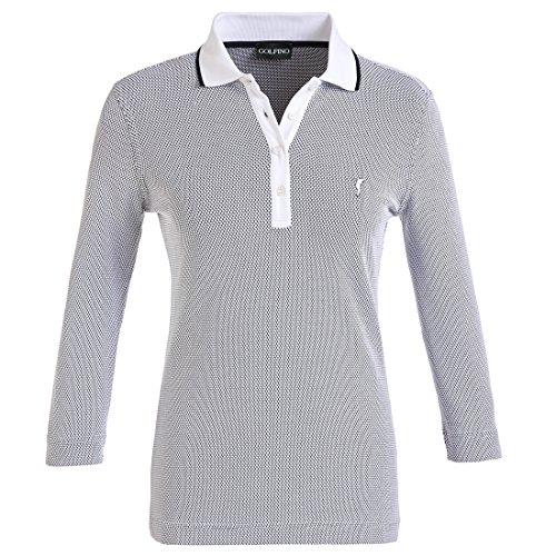 golfino-damen-3-4-arm-funktions-golfpoloshirt-in-regular-fit-aus-feinem-bubble-jacquard-blau-s