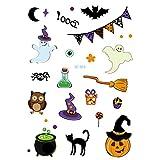 axusndas - Adhesivos de Cara Temporal para Halloween, diseño de Calavera de azúcar, diseño Floral, para Disfraz de araña, Sangre, Cicatrices, murciélagos, 03#