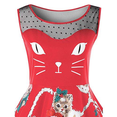 Italily - Da Donna Annata Natale Maglia O-Collo Stampato Corto Manica A-Line Vestito da Swing S-2XL Rosso3