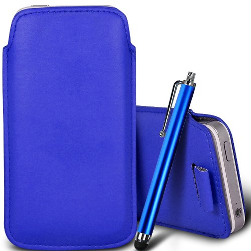 Brun/Brown - Jolla Jolla Mobile Phone Housse deuxième peau et étui de protection en cuir PU de qualité supérieure à cordon avec stylet tactile par Gadget Giant® Bleu/Blue & Stylus Pen