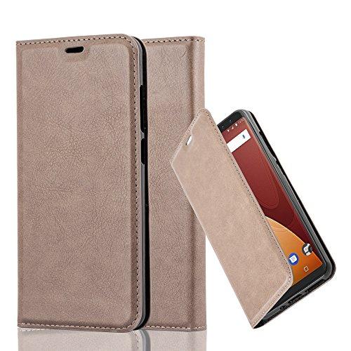 Cadorabo Hülle für WIKO View Prime - Hülle in Kaffee BRAUN – Handyhülle mit Magnetverschluss, Standfunktion und Kartenfach - Case Cover Schutzhülle Etui Tasche Book Klapp Style