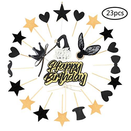 Ohighing Cake Topper Happy Birthday Schwarz Gold Kuchen Decoration Cupcake Toppers für Geburtstag Party Deko (Party Cupcake Birthday)