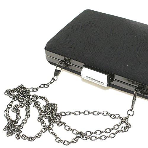 Lovely Lauri Clutch Box Hard Case Abendtasche Blumen Muster Silber Silber