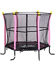 HOMCOM 5FT / 61 Inch Kids Mini Trampoline with Safety Enclosure Net Bungee Design Exercise Rebounder Six Legs Capacity to 60kg Three Colours