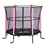 HOMCOM 5FT / 61 Inch Kids Mini Trampoline Exercise Rebounder with Safety Enclosure