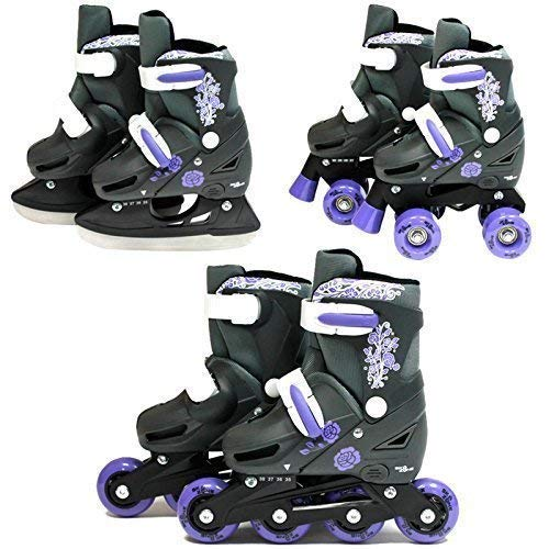 SK8 Zone Mädchen Violett 3in1 Roller Klingen Inline Rollschuhe Verstellbare Größe Kinder Pro Kombo Multi Eislaufen Stiefel Neu - Small 9-12 (27-30 EU)