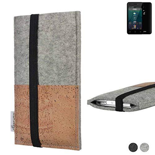 flat.design Handy Hülle Sintra für Allview P42 Handytasche Filz Tasche Schutz Kartenfach Case Kork