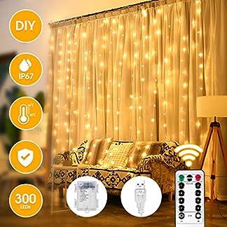 VAZILLIO LED LucesCortina, 3x3m 300 LED 8 Modos CortinadeLuces, Material de Tela de Plata Suave DIY, Temporizador, Resistente al Agua para Fiesta Navidad Bodas Blanco Cálido