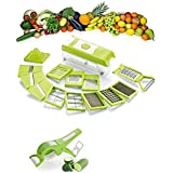Sell ON Vegetable Cutter With Chopper,15 Blades With Peeler Multi Vegetable-Fruit-Cheese-Onion Slicer-Chopper-Dicer-Kitchen Cutter Mandoline Julienne 15 Interchangeable Stainless Steel Blades