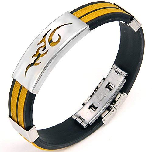 JewelryWe Schmuck 14,5 mm Breite Edelstahl & Gummi Herren Armband Armreif Gelb
