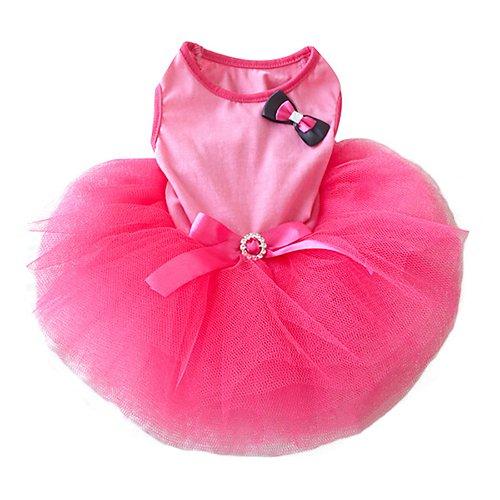 Rosa Tutu Bow Strass Gürtel Kleintiere Hund Katze Kleidung Kleid L