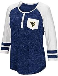 "West Virginia Mountaineers NCAA Women's ""Inconceivable"" 3/4 Sleeve Henley Shirt Chemise"