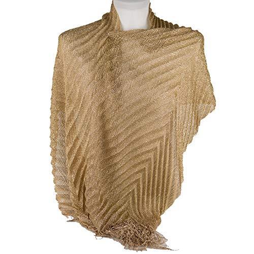 Emila stola cerimonia coprispalle elegante a plissè con frange foulard scialle grande oro l190xh50