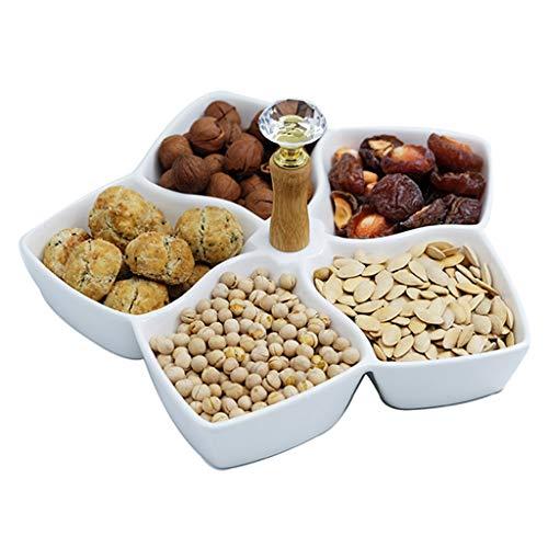 LQY Pentagram-Trockenobstteller, Multi-Grid-Snack-Teller, Keramikobstteller, Food-Server-Display-Teller mit Griff, für Verschiedene Anlässe geeignet, für Obst/Nüsse/Süßigkeiten,Weiß,S Food Display-server