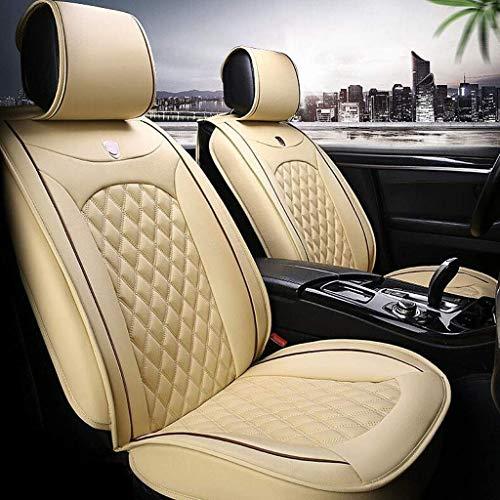 Bbaixx Leder Autositzbezug Kissen, Autositzbezug Sets Vorne Hinten Full Set 9 Stück für 5 Sitze,Beige - Beige 5 Stück