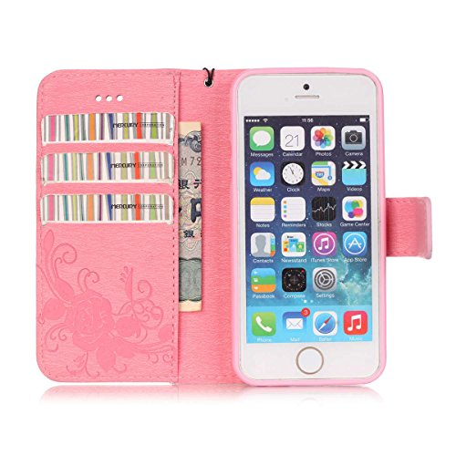 iPhone 5S Hülle Case,iPhone SE Hülle Case,Gift_Source [Card Slot] [Stand Feature] Magnetic Closure PU Leder Flower Butterfly Brieftasche Hülle Case Folio Flip Hülle Case Mit Strap für Apple iPhone SE/ E01-06-Pink