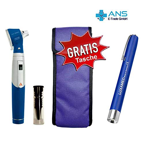 Otoskop Heine Mini 3000 2,5 V mit Batteriegriff blau + Hochwertige Diagnostikleuchte blau