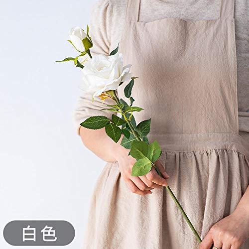Ymwenj Künstliche Blumen2 Künstliche Rosensträuße, Hochzeitsstraßen, Blumenarrangements, Bodenblumen, Kunstblumen @ White Snow and Rose Single -