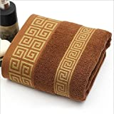 JUNHONGZHANG 3 Pcs Aus Weicher Baumwolle Bestickt Handtuch Set Für Erwachsene Saugfähigen Luxus Hand Badewanne Strand Deckblatt Erwachsene Männer Handtücher, Kaffee