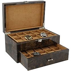 Armbanduhr Sammler Box für 20Handgelenk Uhren in dunkel Wurzelholz mit Deckel durch aevitas