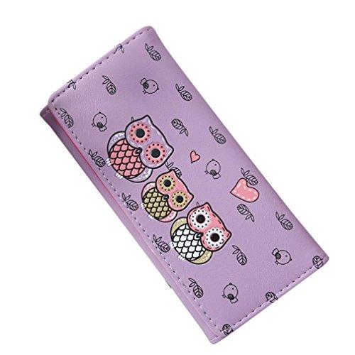 Btruely Brieftasche Damen Handtasche Geldbörse Groß Brieftasche Lange Portemonnaie mit Münze Tasche Karte Halter Leder Geldbörse Vordertasche Schön Wallet (Lila)