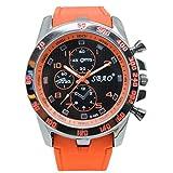 Moonuy Montre de Sport en Silicone Rétro À la Mode Montre-bracelet de Mode d'hommes de Quartz d'analogue de Sport d'acier de Luxe d'acier Inoxydable Poignet Ceinture (Orange)