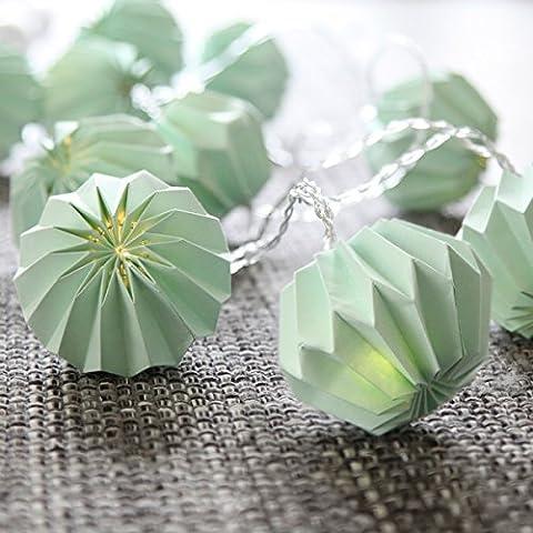 "LED-Lichterkette ""Paper Flower"", 10 teilig 10 warm white LED, türkisfarbene Papierblumen ca. 2,25 m, Timer, Batterie,"