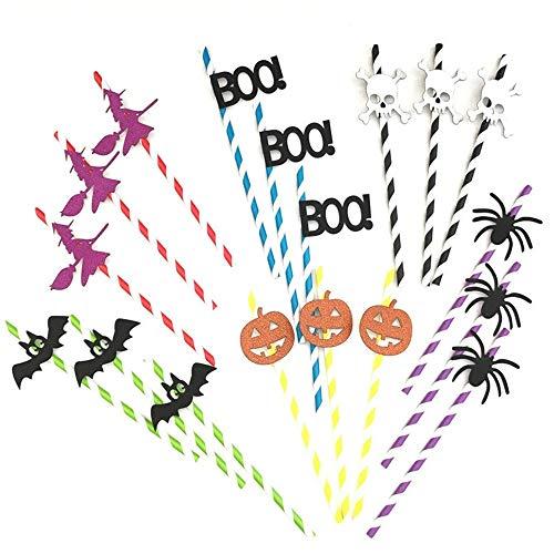 (Techrace Halloween Strohhalme, 10 PCS Kreative DIY Einweg Papier Strohhalme recycelt Strohhalme für Halloween Party Zubehör Supplies - Witch)