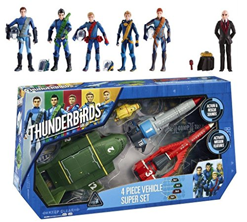 Preisvergleich Produktbild Thunderbirds Are Go 4 Piece Vehicle Super Set + 6 Action Figures Tracy's & Hood
