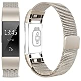 Vancle Für Fitbit Charge 2 Armband, Edelstahl Armband uhren Watch Band Fitness für Fitbit Charge2 Ersatz Armbänd (Champagner, Small)