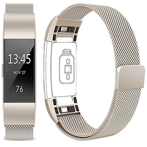 Für Fitbit Charge 2 Armband, Vancle Edelstahl Armband uhren Watch Band Fitness für Fitbit Charge2 Ersatz Armbänd (Champagner, Small)