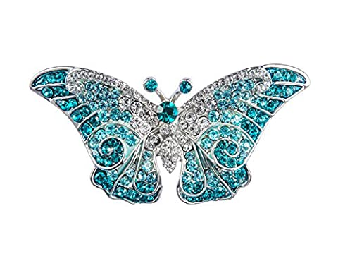 Empress Monarch Winged Butterfly Swarovski Crystal Rhinestones Brooch Pin - Six Colors