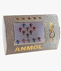 Anmol Silver & Multi Colored Square Size Bindi