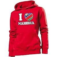 I Love Namibia Fussball Fanhoodie Frauen Damen Hoodie Pulli Kapuzen Pullover Fanartikel Kapuzenpullover
