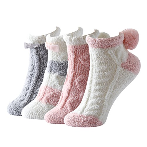 Sweet Nana Modische bunten Streifen superweiche gemütliche Winter Warm Pantoffel Crew Socken für Damen Anti Rutsch Anti-Rutsch Griff Fuzzy 4 Paar Pack (Rosa Serie) (Sock Cut Microfiber Low)