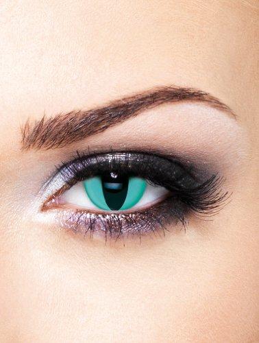 Edit farbige Katzenaugen Kontaktlinsen Aqua / Türkis ohne Stärke für Karneval und Halloween