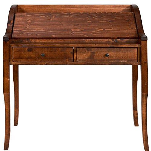 Butlers Watson Sekretär aus dunklem Tannenholz - antiker Schreibtisch zum Aufklappen - Schubladen und Fächer - 101,5 x 53 x 98 cm
