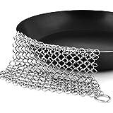 Pixnor Hierro fundido ollas limpiador 8 x 6 pulgadas acero inoxidable depurador de cota de malla para Wok y plancha de Pan de sartén